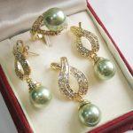 Prett Lovely Women's Wedding 12mm Green Shell Pearl Pendant Necklace Earrings Ring Set