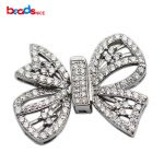 Beadsnice Sterling Silver Large Clasp CZ Pave Buckle Bow Shape <b>Jewelry</b> <b>Making</b> Accessories Handmade Necklace Findings ID35293
