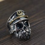 Personalitized Real 925 Sterling Silver Skull Ring Men Adjustable Pirate Captain Vintage Punk Rock Skeletons Mens Gothic <b>Jewelry</b>