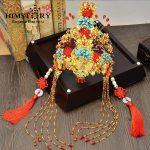 HIMSTORY Luxurious Vintage Chinese Traditional <b>Wedding</b> <b>Jewelry</b> Adorn Queen Tibetan Style Pageant Phoneix Coronet Tiaras