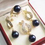 Prett Lovely Women's Wedding shipping> >1Set AAA 12mm Black Shell Pearl Pendant Necklace Earrings Ring Set 03 silver-<b>jewelry</b>
