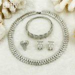 2018 African Luxury Bride <b>Silver</b> Jewelry Sets Charm Women Leaf Necklace Choker <b>Bracelet</b> Jewelry Fashion Wedding Jewelry Sets