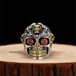 <b>Sterling</b> <b>Silver</b> Sugar Skull Rings For Men 26g Solid Handcrafted <b>Silver</b> 925 Chunky Mens Ring Gothic Thick Band Male <b>Jewelry</b> Gifts