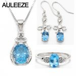Natural Blue Topaz Jewelry Set For Women Real 925 Sterling <b>Silver</b> Topaz Necklace/<b>Earrings</b>/Ring Wedding Bridal Sets