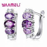 YAAMELI New Design 925 <b>Silver</b> Hoop Earrings For Women Round With Purple Cubic Zircon Charm Flower Hoop Earrings Women <b>Jewelry</b>