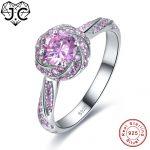J.C 2 Colors Beauty Flower Style Sapphire & Pink White Topaz 925 <b>Sterling</b> <b>Silver</b> Ring Size 6 7 8 9 Women Engagement Fine <b>Jewelry</b>