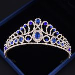 Xinyun Crown On The Head Bridal Tiara Peacock Hair <b>Jewelry</b> Wedding Hair Accessories Trendy CZ Blue Crown Couronne De Mariage
