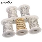 SAUVOO 10 Yard Gold Silver Color Claw Crystal Rhinestone Cup Chains SS6-SS16 for DIY Necklace Bracelet <b>Jewelry</b> <b>Making</b> Finding