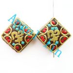 (3 pieces/lot)Nepal Tibetan Type Manual <b>Antique</b> Bead, Flat quadrate Brass Embed Imitation Turquoises H64481 22x22x8mm