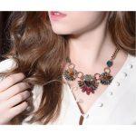 Bohemian retro color stone ladies personalized necklace /necklaces women/ <b>jewelry</b>/ organizer <b>jewelry</b> <b>making</b> pendant