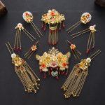 <b>Handmade</b> Vintage Wedding <b>Jewelry</b> Set Golden Bride Headwear Red Crystal Phoenix Coronet White Glass Hair Accessories Earrings