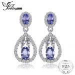 JewelryPalace Elegant 2.8ct Natural Tanzanites White Topazss Dangle <b>Earrings</b> 925 Sterling <b>Silver</b> Jewelry Party Gift For Women