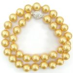 (Minimum Order1) 10mm Gold-Color South Sea Shell Pearl Necklace AAA + Magnet Clasp Rope Chain Beads <b>Jewelry</b> <b>Making</b> Natural Stone