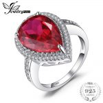 JewelryPalace Luxury Pear Cut 7ct Red Created Ruby Solid 925 Sterling <b>Silver</b> Engagement Ring Fine <b>Jewelry</b> Fashion Ring for Women