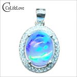Luxurious <b>silver</b> opal pendant 2ct 8*10mm natural opal gemstone necklace pendant solid 925 <b>silver</b> opal <b>jewelry</b> romantic gift