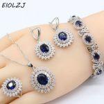 925 Sterling Silver <b>Jewelry</b> Sets For Women's Anniversary Big Flower Dark Blue Zircon <b>Necklace</b> Ring Drop Earrings Bracelet