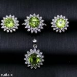 KJJEAXCMY boutique jewels 925 Pure <b>silver</b> inlay natural olive-stone snow <b>earrings</b> ring pendant jewelry 3 sets