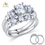 Peacock Star Round Cut 2-Pcs Solid Sterling 925 Silver Promise Engagement Ring Set Wedding Gift <b>Jewelry</b> CFR8066