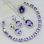 925 Sterling <b>Silver</b> Jewelry Sets Purple Cubic Zirconia White Zircon For Women Wedding Earrings/Pendant/Necklace/<b>Bracelet</b>/Ring