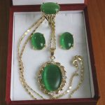 Prett Lovely Women's Wedding elegant Inlay green gem stone pentond Necklace Earring Ring set silver <b>jewelry</b> boucle
