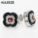 Genuine Garnet 925 Sterling <b>Silver</b> Stud <b>Earrings</b> Lucky Four Leaf Clover Natural Garnet <b>Earrings</b> For Women Fine Jewelry Gift