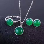 Natural green chalcedony party jewelry sets natural gemstone ring <b>earring</b> Pendant S925 <b>silver</b> Fashion elegant Round bubble Women