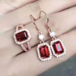 Natural red garnet gem jewelry sets natural gemstone ring <b>Earrings</b> 925 <b>silver</b> Luxury pillow Square women fine wedding jewelry