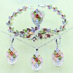 Reginababy Multi zircon <b>Silver</b> color Bridal Jewelry Set For Women Crystal Wedding <b>Bracelet</b>/Necklace/Earrings/Ring