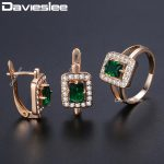 Davieslee Square Green Stone Stud Earring Ring For Women 585 Rose Gold Filled Paved Clear Cubic Zirconia CZ <b>Jewelry</b> Sets DGE141