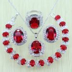 925 Stamp White Zircon Red Rhinestone Silver color <b>Jewelry</b> Set For Women Crystal Bracelets/Necklace/Earrings/Ring/Pendent