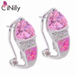CiNily Created Pink Fire Opal Pink Zircon Cubic Zirconia Silver Plated Earrings Wholesale for Women <b>Jewelry</b> Stud Earrings OH3526