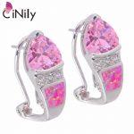 CiNily Created Pink Fire Opal Pink Zircon Cubic Zirconia Silver Plated Earrings Wholesale for Women <b>Jewelry</b> Stud Earrings OH3526