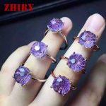 Natural Amethyst Gemstone Rings Genuine Solid 925 <b>Sterling</b> <b>Silver</b> For Women Fine <b>Jewelry</b> Fireworks Cut