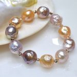 100% Natural big 11-13mm Multicolor Baroque Pearl <b>Bracelet</b> Fashion rose gold elasticity <b>bracelets</b> For women Free shipping
