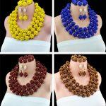 <b>Handmade</b> Skeleton Ball <b>Jewelry</b> set Crystal beads necklace earring bracelet nigerian costume Beaded <b>jewelry</b> set 6MM Bead