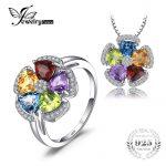JewelryPalace 5.2ct Genuine Blue Topaz Amethyst Citrine Garnet Peridot Ring Pendant Necklaces <b>Jewelry</b> Sets 925 <b>Sterling</b> <b>Silver</b>