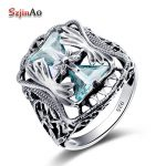 Szjinao Wholesale 925 Sterling <b>Silver</b> Big Rings For Women Blue Aquamarine anel Petals Gift Vintage Wedding Skull <b>Jewelry</b>