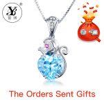 YB <b>silver</b> 925 <b>jewelry</b> necklaces pendants colgantes mujer moda bijoux en argent 925 base ruby rose For Women Gifts