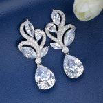 Bella Fashion Gorgeous 925 Sterling Silver Teardrop Bridal Earrings Clear Cubic Zircon <b>Wedding</b> Earrings For Women Party <b>Jewelry</b>