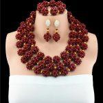 Fashion Dark Red Nigerian Wedding African Beads <b>Jewelry</b> Set Big Balls Chunky Women Costume <b>Jewelry</b> Set Free Shipping WB848 10057