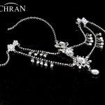 Chran <b>Silver</b> Bridal Rhinestone Forehead Band Dangle Headdress Head Chain Topknot Maang tikka Deco Headpiece Hair <b>Jewelry</b> HDC4211