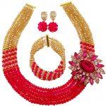 Hot Pink Gold AB African Wedding <b>Necklace</b> Nigerian Beads <b>Jewelry</b> Set Women Costume Beaded <b>Necklace</b> 5C-SXJB011