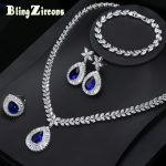 BlingZircons <b>Silver</b> Color Bridal Wedding 4 Pcs Royal Jewelry Set Blue Stone CZ Crystal Ring Earring <b>Bracelet</b> Necklace Sets JS101