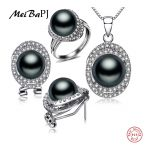 MeiBaPJ 925 <b>Silver</b> Top Quality 100% Genuine Black Freshwater Pearl Pendant Necklace Earrings Ring <b>Jewelry</b> Sets For Women TZ-004Y