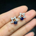 Natural red tourmaline Elegant earrings star stud earrings 925 <b>silver</b> natural blue sapphire earrings women fashion gift <b>jewelry</b>