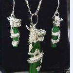 Prett Lovely Women's Wedding green gem silver plate dragon Necklace earring set>AAA GP Bridal wide watch wings silver-<b>jewelry</b>