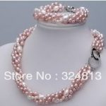 Women's Wedding Finery 3-4mm real freshwater pearl necklace 17-18″ Bracelet 7.5″ set real silver <b>jewelry</b>