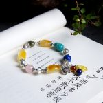 Pure natural amber beeswax beads Sterling <b>silver</b> with green pine South red gold gold 925 blessing bags DIY hand string <b>bracelet</b>