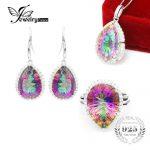 100% Natural Rainbow Mystic Topaz Natural Gemstone Ring Pendant <b>Earring</b> Box Chain Fine Jewelry Set 925 Sterling <b>Silver</b> Jewelry