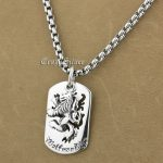 925 Sterling <b>Silver</b> King Lion Dog Tag Biker Pendant 9S020A 316L Stainless Steel <b>Necklace</b> 24 inches
